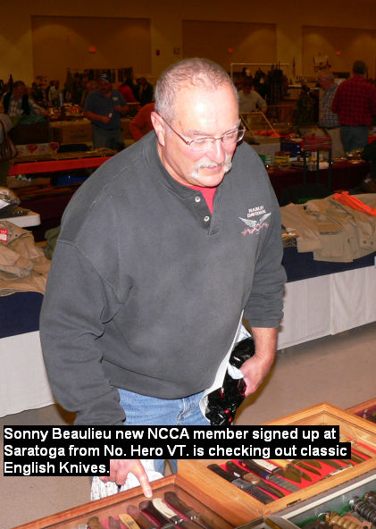 Sonny Beaulieu new NCCA member signed up at Saratoga from No. Hero VT. is checking out classic English Knives.