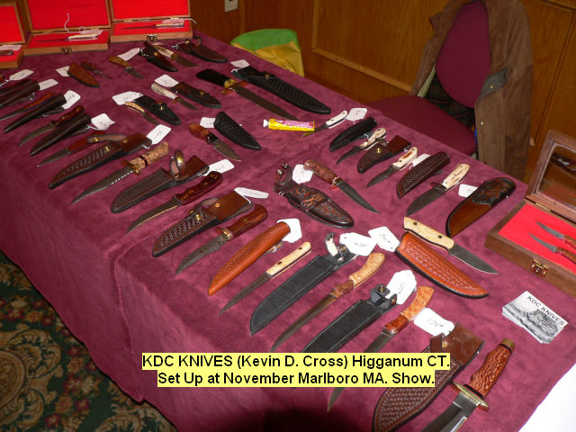 KDC Knives (Kevin D. Cross) Higganum CT. Set Up at November Marlboro MA show.