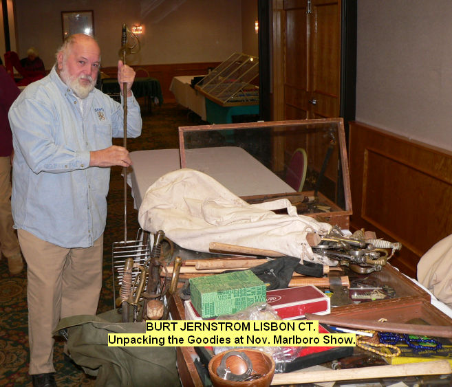 Burt Jernstrom Lisbon CT. Unpacking the goodies at Nov. Marlboro show.