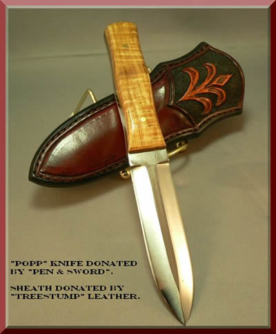 'Popp' knife donated by 'Pen & Sword'. Sheath donated by 'Treestump ' Leather
