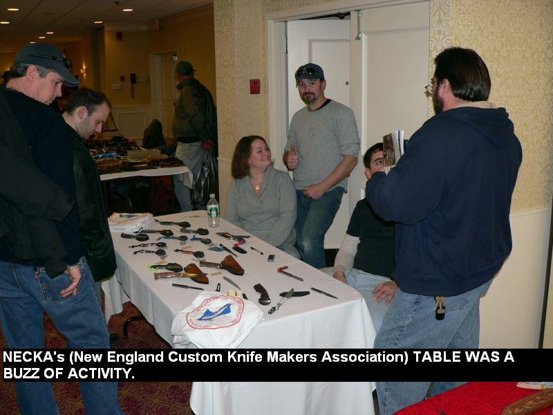 NECKA's (New England Custom Knife Makers Association) table was a buzz of activity.