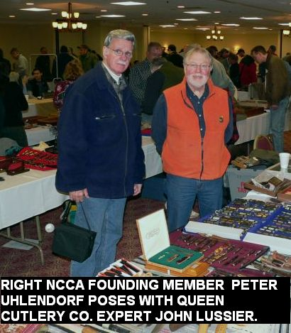 Right, NCCA founding member Peter Uhlendorf poses with Queen Cutlery Co. expert John Lussier.