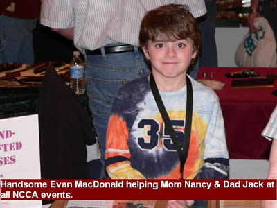 Handsome Evan MacDonald helping Mom Nancy & Dad Jack at all NCCA events.