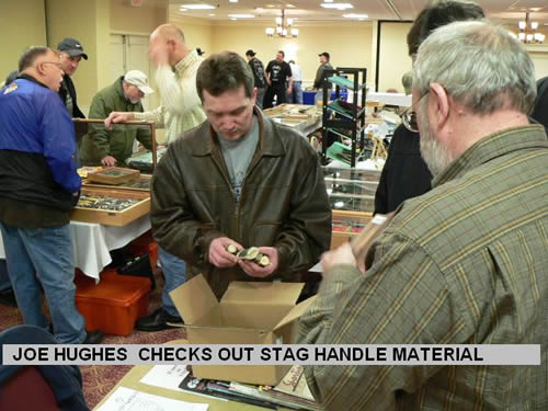 JOE HUGHES CHECKS OUT STAG HANDLE MATERIAL