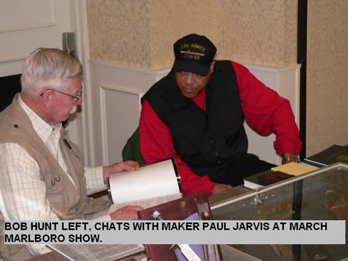 BOB HUNT LEFT, CHATS WITH PAUL JARVIS AT MARCH MARLBORO SHOW.